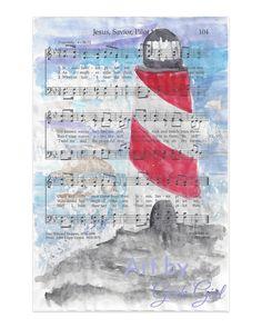 Jesus Savior Pilot Me Watercolor Print Lighthouse- Cloudy Sky -Hymn Art- LDS Art- Mother in Law Gift- Housewarming Gift- Wedding Gift- Birthday Gift- Art by Geek Girl- Artbygeekgirl- Geekgirlph Sheet Music Crafts, Sheet Music Art, Hymn Art, Lds Art, Mother In Law Gifts, Sunset Art, Geek Girls, Art Pages, Pictures To Paint