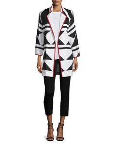 Long+Graphic+Jacket+with+Piping,+Sleeveless+Long+Tank+Top+&+Slim+Ankle+Pants+by+Misook+at+Neiman+Marcus.