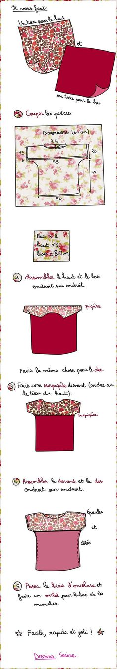 Tuto du top bicolore - Des Idées Par Milliers Wish it wasn't in french, but I get the drift - easy to make Diy Couture, Couture Sewing, Couture Tops, Diy Clothing, Sewing Clothes, Clothing Patterns, Dress Sewing, Diy Kleidung Upcycling, Diy Vetement