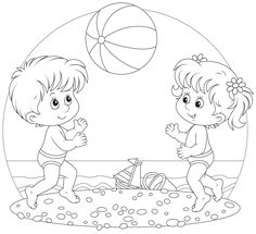 Kinder spielen kombinieren Tanzfest am Strand Illustration, Summer Coloring Pages, Colouring Pages, Adult Coloring Pages, Coloring Pages For Kids, Coloring Books, Outline Pictures, Outline Images, Drawing For Kids, Art For Kids