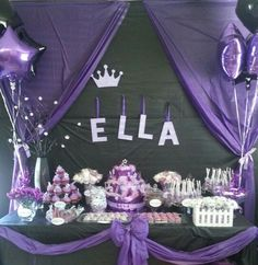Royal purple princessbut with a hint a pink here and there moses Purple Princess Party, Purple Party, Princess Theme, Baby Girl Princess, Baby Shower Princess, Baby Shower Table Cloths, Baby Shower Cakes, Baby Shower Themes, Baby Shower Gifts