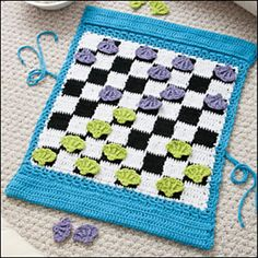 Pack & Play Checkerboard pattern by Kristen Stoltzfus Crocheted Pack & Play Checkerboard by Kristen Stoltzfus ~ Pretty, handy & FUN! Crochet Game, Crochet Gifts, Love Crochet, Crochet For Kids, Diy Crochet, Knitting Projects, Crochet Projects, Knitting Patterns, Crochet Patterns