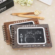 Cute Cartoon Totoro Wooden Notebook Diary Book Creative Wooden Cover Notepad With Pen For Kid Stationery Gift Birthday