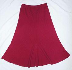 Eileen Fisher M Skirt Magenta Pink Viscose Linen Elastic Waist Medium…
