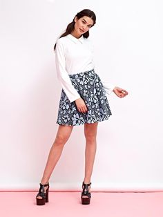 Two-in-one mini dress with a classic white collared bodice and a mod black and blue lace pleated skirt. Lace Collar, Collar Dress, Pleated Skirt, Sequin Skirt, Classic White, Blue Lace, Collars, Bodice, Mini Skirts