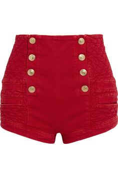 Pierre Balmain - Button-detailed Quilted Denim Shorts - Red