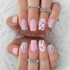 Holo Nails With Pink Flamingo ❤ There is no need to wonder how to do ombre nails anymore! We know everything about the best and the easiest techniques of ombre, which you can easily replicate at home. Crazy Nail Designs, Ombre Nail Designs, Short Nail Designs, Acrylic Nail Designs, Nail Art Designs, Beach Nail Designs, Toe Nails, Pink Nails, Flamingo Nails