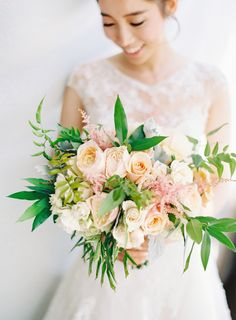 blush peach green bridal bouquet | garden style wedding bouquet | outdoor gazebo wedding ceremony |