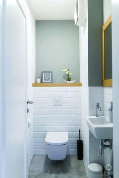 Space Saving Toilet Design for Small Bathroom - - Bathroom Ideas Grey Bathroom Tiles, Bathroom Design Small, Bathroom Interior Design, Modern Bathroom, Bathroom Ideas, Bath Design, Budget Bathroom, Bathroom Organization, Cloakroom Ideas Small