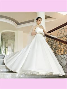 White Ball Sweetheart Satin Wedding Dress