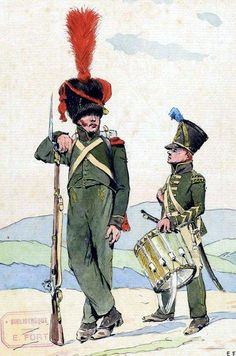 Nassau-grenadier and the drummer Fusiliers battalion of line infantry in Spain (1810). Fig. E. Fort.