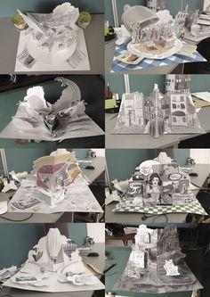 Pop-up book by Anna Baggins, via Behance Cuento Pop Up, Arte Pop Up, Casa Pop, Pop Art, Pop Up Karten, Libros Pop-up, Kids Pop, Paper Engineering, Book Sculpture