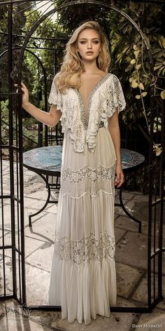 dany mizrachi spring 2018 bridal short buttlefly sleeves deep plunging v neck lace embellishment romantic bohemian column wedding dress open back sweep train (10) mv -- Dany Mizrachi Spring 2018 Wedding Dresses