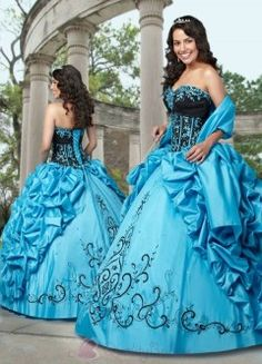 Turquoise & Black Quincenera Dress with Sweetheart Neckline P1485