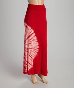 Loving this Red Tie-Dye Sunburst Maxi Skirt on #zulily! #zulilyfinds