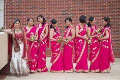 matching pink and gold bridesmaid saris Indian Wedding Sari, Bridal Sari, Bollywood Wedding, Bridal Dresses, Bollywood Style, Indian Bridal, Bridesmaid Saree, Indian Bridesmaids, Bridesmaid Outfit
