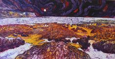 View of Boggle Hole at night. Collagraph by Janine Denby exploring colour version 1