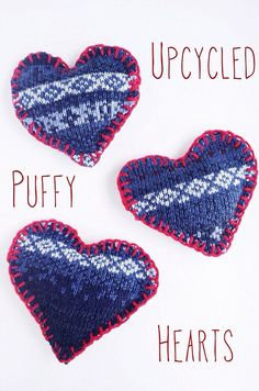Upcycled Puffy Hearts by Maker Mama, via Flickr