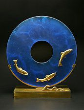 "Salmon Sculpture by Georgia Pozycinski and Joseph Pozycinski (Art Glass & Bronze Sculpture) (19.5"" x 18.5"")"