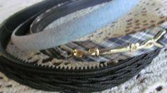 School Girl Plaid and Denim Headbands 3 Headbands NOS 13 Thin Headbands with Teeth   $8.00 ReVintageBoutique.Etsy.com