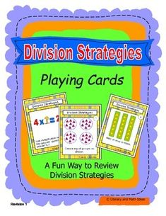 {FREE} Division Strategies Playing Cards by Literacy and Math Ideas 3rd Grade Division, Math Division, Third Grade Math, Fourth Grade, Math Activities For Kids, Fun Math, Teaching Math, Teaching Ideas, Teaching Resources
