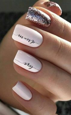 cute and beautiful glitter nail designs ideas for summer - Vale . - cute and gorgeous glitter nail designs summer ideas – valentine& day nails – - Cute Nail Art Designs, Acrylic Nail Designs, New Years Nail Designs, Nail Art Vidéo, Glitter Nail Art, Nail Art Mignon, Cute Nails, Pretty Nails, Gel Nails