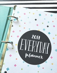 2017 everyday planner BY MISS TIINA Available in 5 sizes with SIX different cover designs, this printable 2017 everyday planner is perfect for just about anyone! It is packed full of vari… 2017 Planner, Life Planner, Happy Planner, Planner Ideas, Bullet Journal, Printable Planner, Printables, Planner Stickers, Bujo