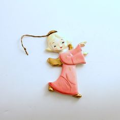 Vintage Christmas Ornament Pink Angel Ornament Yona Original by efinegifts on Etsy