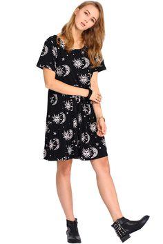 Sun and Star Print Backless Dress
