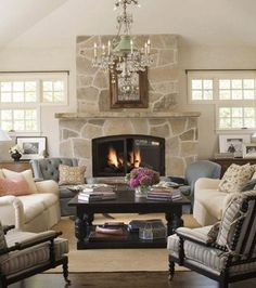 Living Room With Fireplace And Windows possible layout for tv and fireplace on separate walls ???? | for