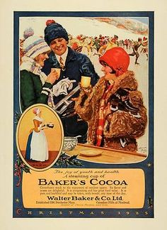 Christmas ~ Christmas Ad for Baker's Cocoa Christmas 1925 (Ice Skating) Vintage Ads, Vintage Posters, Vintage Food, Retro Ads, Vintage Kitchen, Baker And Co, Art Deco Cards, Old Advertisements, Winter Magic