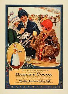 Vintage Christmas Ad ~ Baker's Cocoa Christmas ~ Ice Skating ©1925