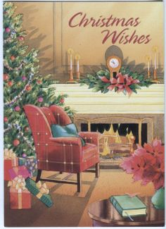 Vintage Paper Magic Christmas Card Chair BY THE Fire