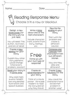 journal ideas for students Reading Response Menu Reading Response Menu Reading Response Journals, Reading Response Activities, Reading Comprehension Strategies, Reading Skills, Guided Reading, Teaching Reading, Reading Projects, First Grade Reading, Reading Workshop
