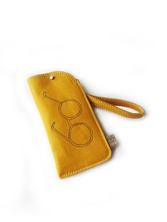 leather glasses case yellow glasses purse by squirrellicious, $35.00