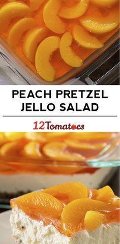 Peach Pretzel Jello Salad with cream cheese, whipped topping & Jello. Jello Desserts, Jello Recipes, Dessert Salads, Just Desserts, Jello Salads, Fruit Salads, Salad Recipes, Health Desserts, Recipies