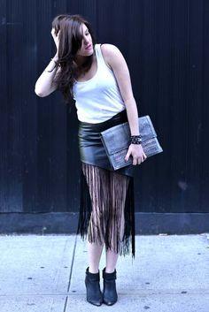 Cara of The StylePhile in the Hang Out Vegan Leather Fringe Skirt    Get the skirt: http://www.nastygal.com/product/hang-out-vegan-leather-fringe-skirt?utm_source=pinterest&utm_medium=smm&utm_term=ngdib&utm_content=nasty_gals_do_it_better&utm_campaign=pinterest_nastygal