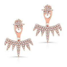 14kt Rose Gold Diamond Spiked Tiara Floating Earrings ($1,030) ❤ liked on Polyvore featuring jewelry, earrings, spike earrings, diamond jewellery, pink gold jewelry, graduation jewelry and red gold jewelry