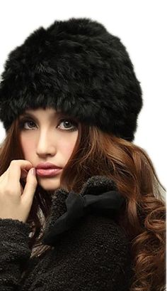 03b3e23b8c9 Veenajo Womens Winter Hat Knitted Rabbit Fur Hats Beanie Hats (Black).  Trademark
