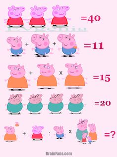 Brain teaser - Number And Math Puzzle - Peppa - Picture Puzzles Brain Teasers, Math Puzzles Brain Teasers, Math Logic Puzzles, Funny Puzzles, Mind Puzzles, Number Puzzles, Math Games, Math Riddles With Answers, Riddles Logic