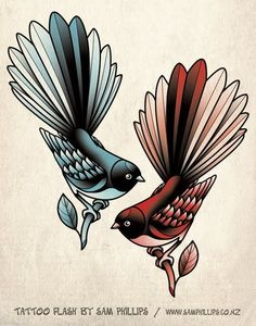 Fantail tattoo by Sam Phillips