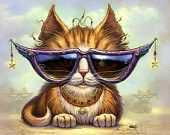 Cat painting // Orange Tabby art print // Pet painting // Fantasy Cats // Giclee print // Cool Cat Sunglasses // Tabby Cat