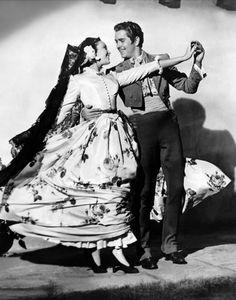 "Linda Darnell & Tyrone Power - ""The Mark of Zorro"" (1940) - Costume designer : Travis Banton"