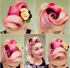Pink rockabilly hair