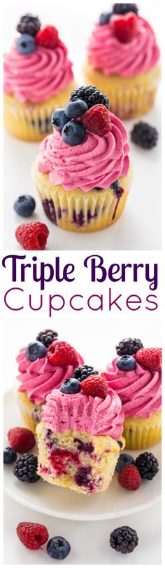 These Triple Berry Cupcakes are moist, fluffy, and bursting with fresh fruit in every bite. (Fresh Fruit Muffin)