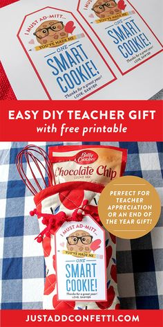 "This ""Smart Cookie"" DIY teacher gift idea is so easy to assemble! Complete with a free printable tag, this gift is perfect for teacher appreciation or an end of the year gift too!"