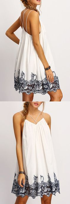 Black Spagettic Strap Flower Embroidered Accent Dress. Boho style summer beach dresses for women.