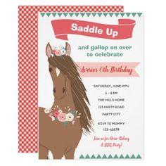 Vintage Horse Birthday Invitation (Floral)