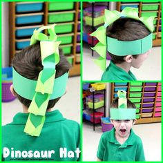Dinosaur hat!  Make a dinosaur hat to kick off your dinosaur unit!