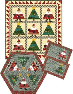 If you love paper piecing, this quilt pattern featuring Santa and Christmas trees could be just for you! Available at a paper pattern or an instant download at http://quiltwoman.com/Dance-Santa-Dance-Quilt-Pattern.aspx#